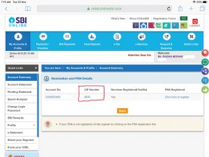 Find SBI CIF no internet banking