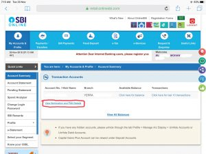sbi cif number internet banking online method