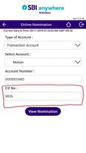 CIF Number SBI Bank Account