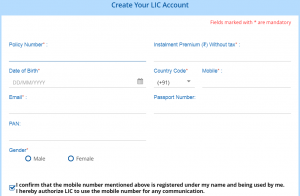 LIC e Services Registration Page