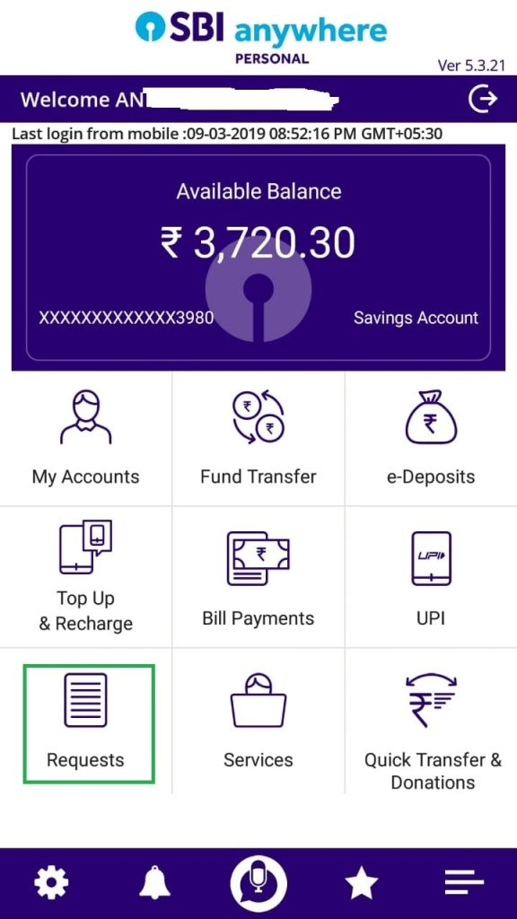 SBI Anywhere Personal app cheque book request