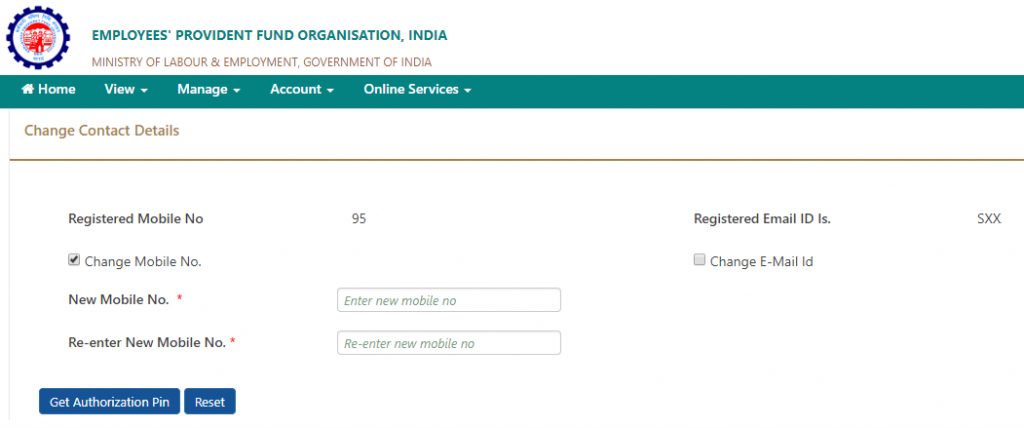 epf mobile number change in pf account