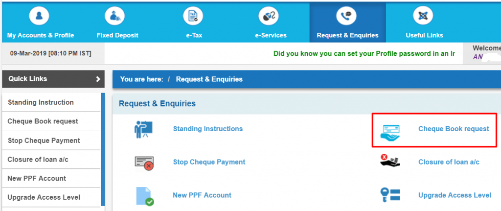 sbi cheque book request net banking